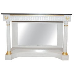 Console Table in a  Neoclassical Style-Dove Grey Paint with Black Stone Top