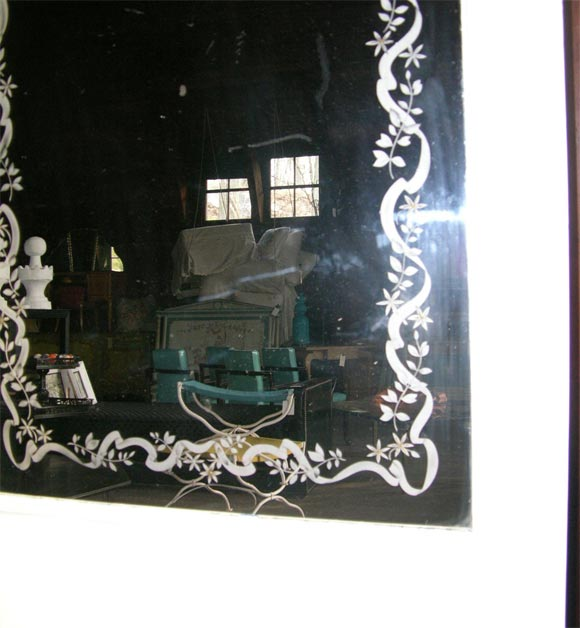 Mid-20th Century French Etched Arched Mirror For Sale