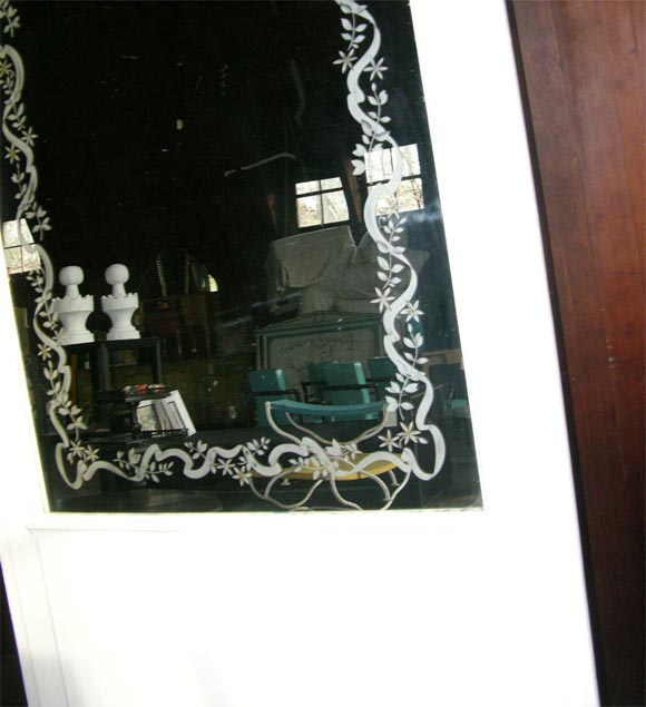 French Etched Arched Mirror For Sale 1