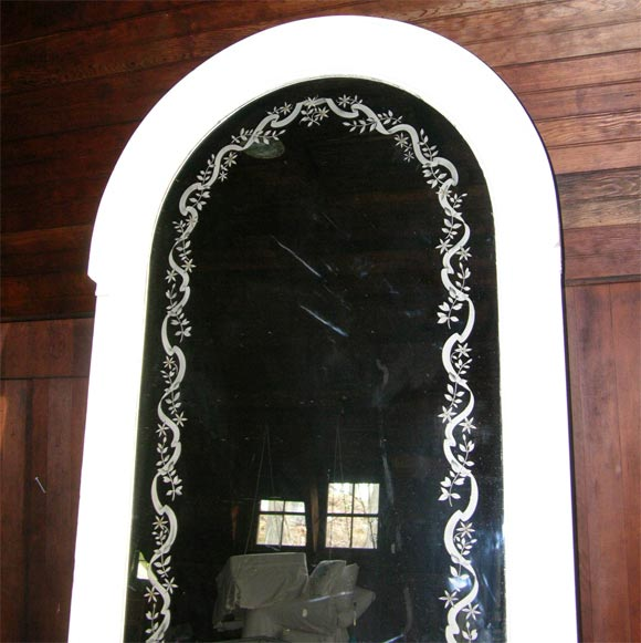 French Etched Arched Mirror For Sale 2
