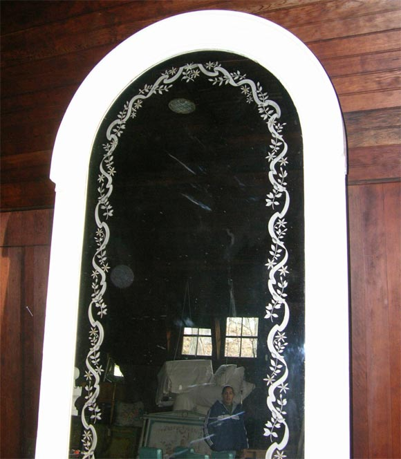 French Etched Arched Mirror For Sale 3