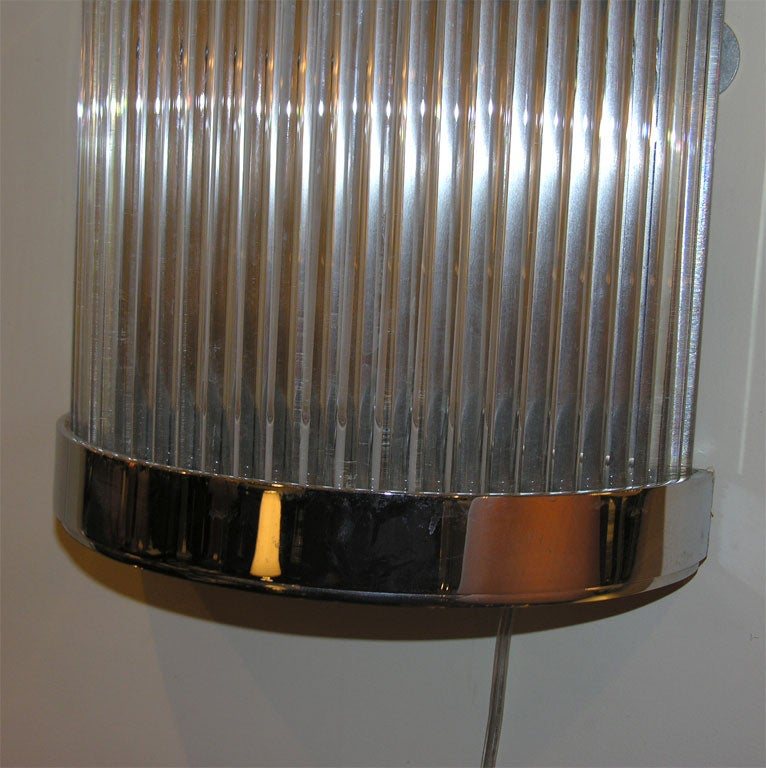 Glass Rod Wall Sconces : Pair of Art Deco Chrome and Glass Rod Sconces at 1stdibs