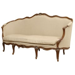 French Louis XV Style Walnut Upholstered Canapé with Wraparound Back, circa 1850