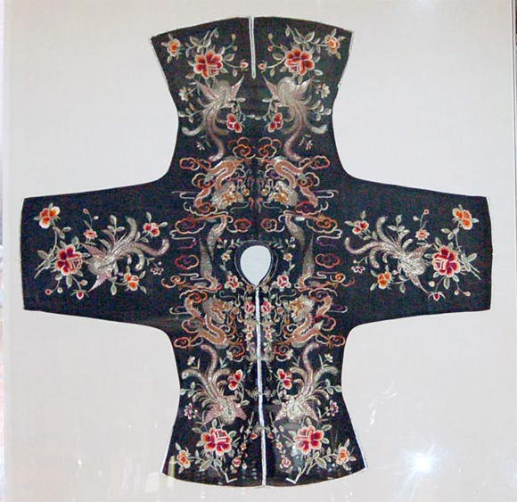 Beautifully embroidered black silk