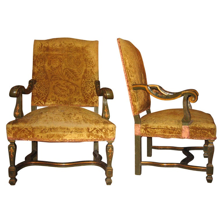Two 19th Century Italian Armchairs In Green And Gold Lacquer At 1stdibs