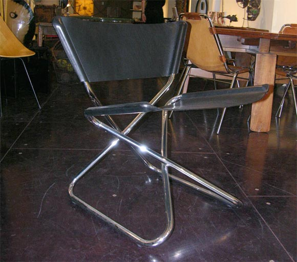 Zdown Leather and Chrome Folding Chair by Engelbrecht's 2