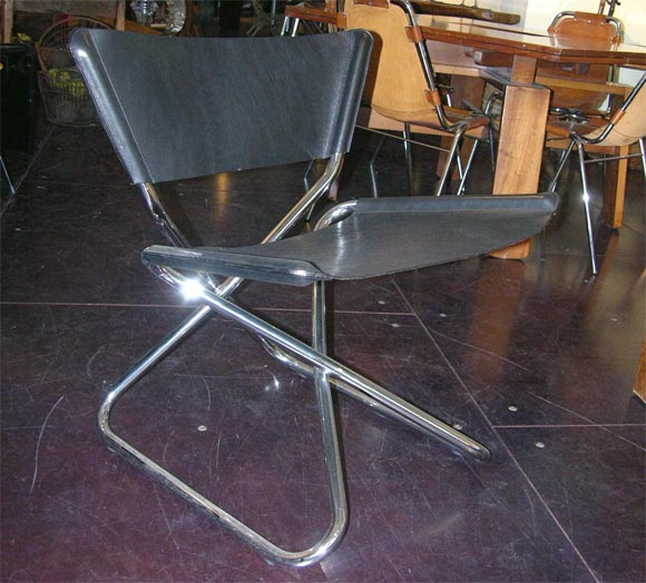Zdown Leather and Chrome Folding Chair by Engelbrecht's 3