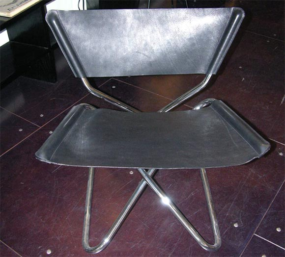 Zdown Leather and Chrome Folding Chair by Engelbrecht's 4