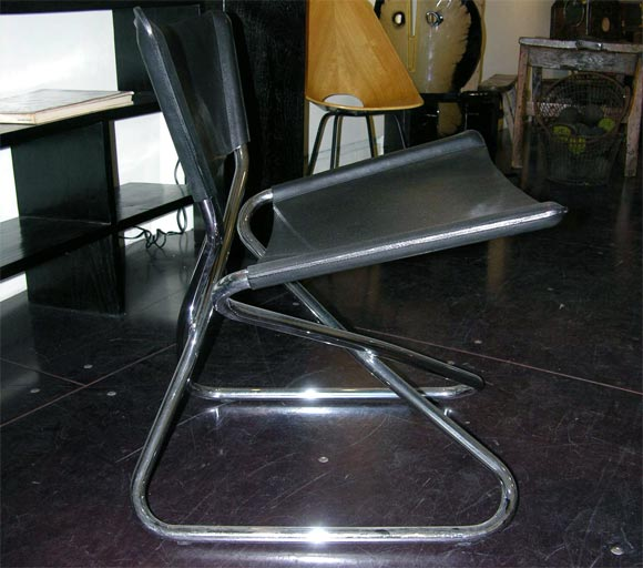 Zdown Leather and Chrome Folding Chair by Engelbrecht's 5