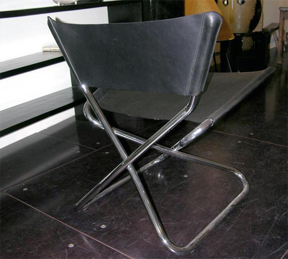 Zdown Leather and Chrome Folding Chair by Engelbrecht's 6