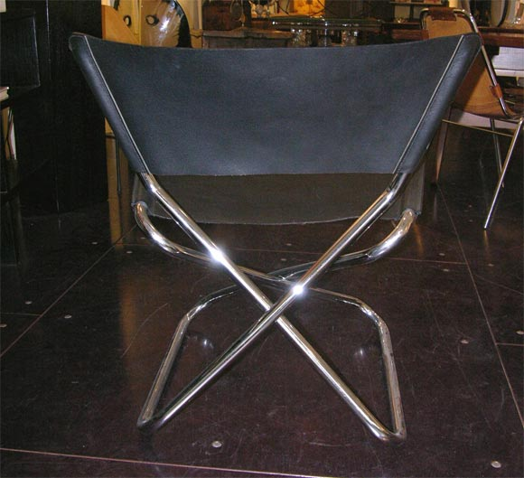 Zdown Leather and Chrome Folding Chair by Engelbrecht's 7
