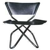 Zdown Leather and Chrome Folding Chair by Engelbrecht's
