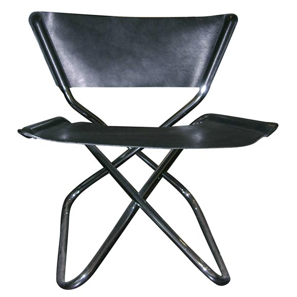 Zdown Leather and Chrome Folding Chair by Engelbrecht's 1