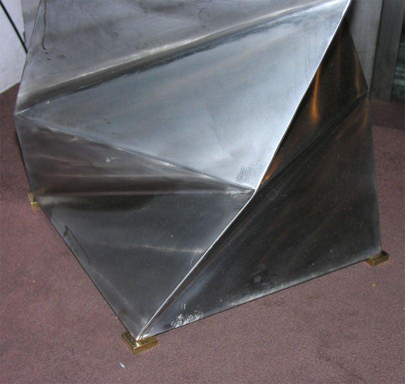 American Floor Lamp Mid-Century Modern Sculptural Polished Steel, 1970s For Sale