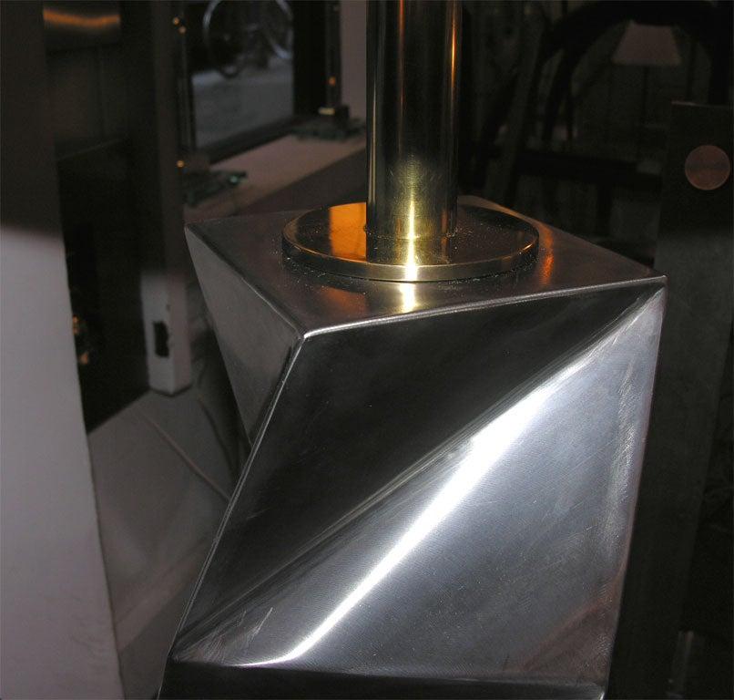 Floor Lamp Mid-Century Modern Sculptural Polished Steel, 1970s For Sale 1