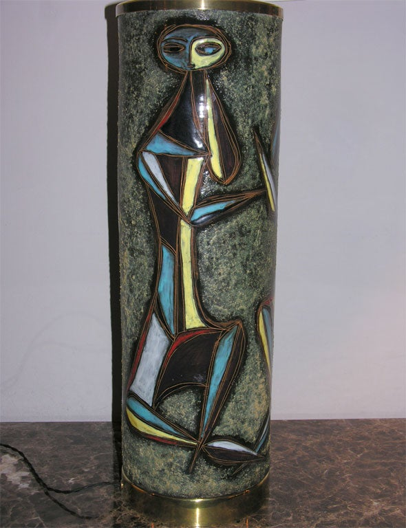 Sculptural Ceramic Table Lamp with Abstract Figures In Excellent Condition For Sale In New York, NY