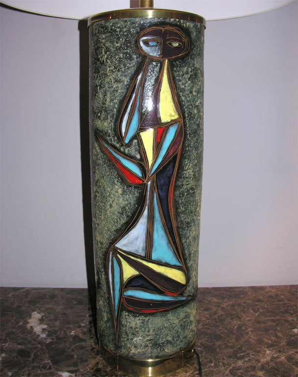 Brass Sculptural Ceramic Table Lamp with Abstract Figures For Sale
