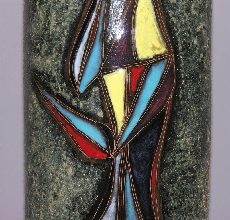 Sculptural Ceramic Table Lamp with Abstract Figures For Sale 2