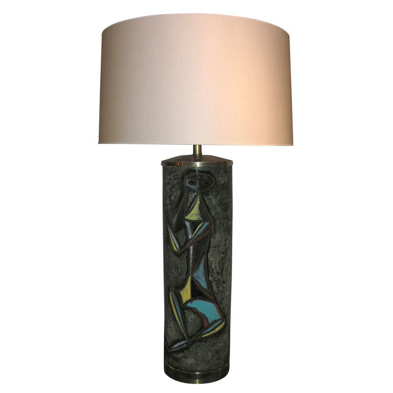 Sculptural Ceramic Table Lamp with Abstract Figures For Sale