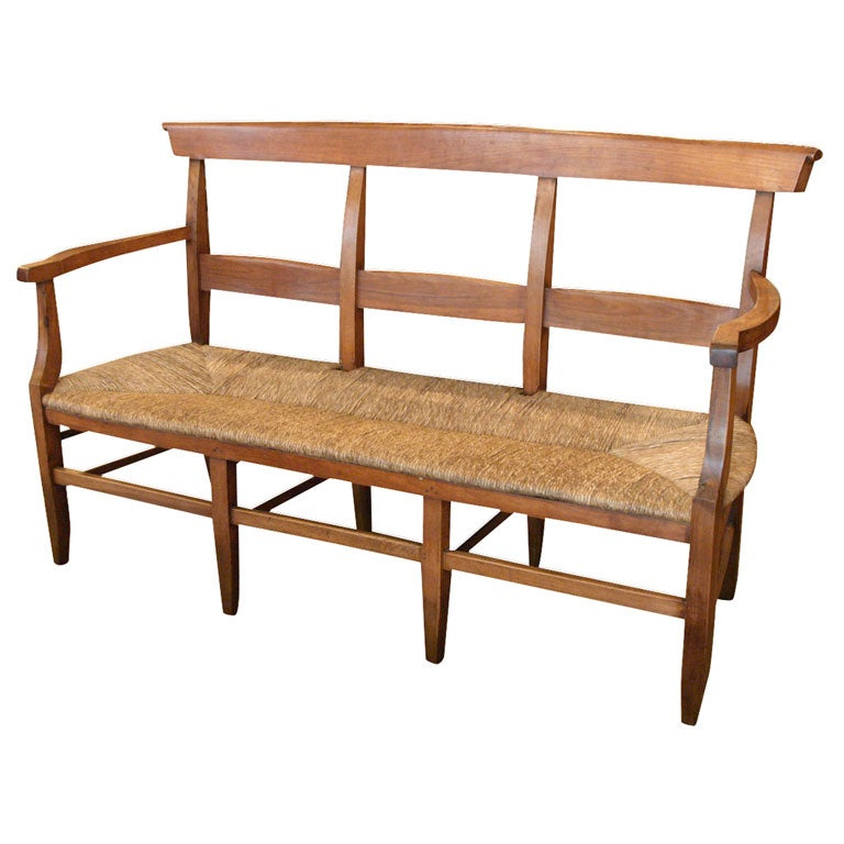 Antique French Provincial Rush Seat Fruitwood Bench At 1stdibs