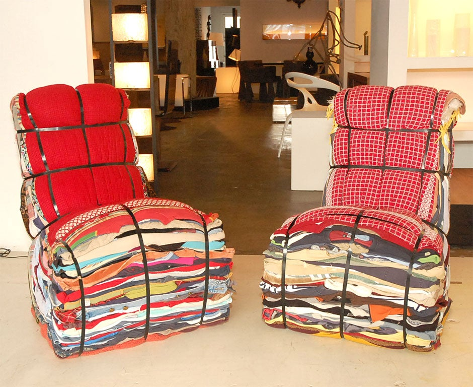 This chair is layered from the contents of 15 bags of rags. It arrives ready made but the user has the option to recycle their own discarded clothes to be included in the design. Each piece is unique, but it can also become a treasured chest of