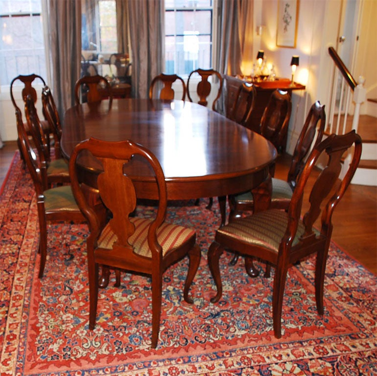 European Dining Room Furniture: A Northern European Mahogany Dining Room Table With 12