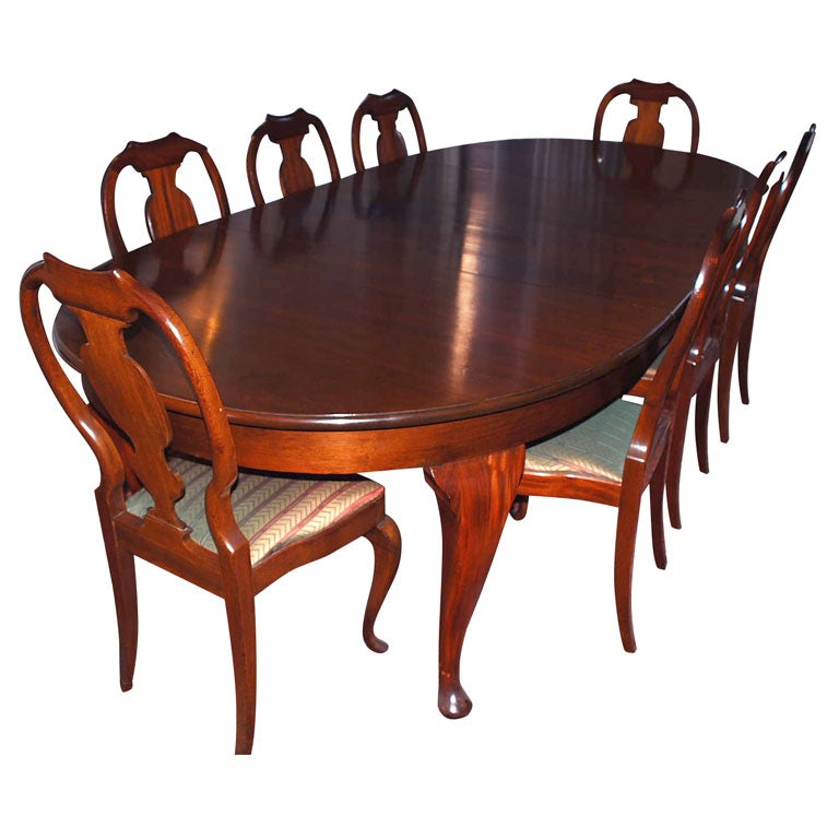 A Northern European Mahogany Dining Room Table with 12 Chairs at ...