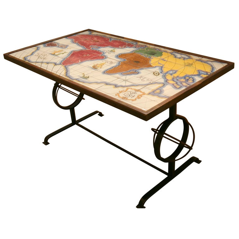 French Tile Map Of The World Coffee Table In The Style Of Royer At 1stdibs