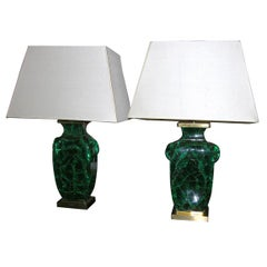 French Lamps with Crackeled Glass and Bronze base, Mid-20th Century