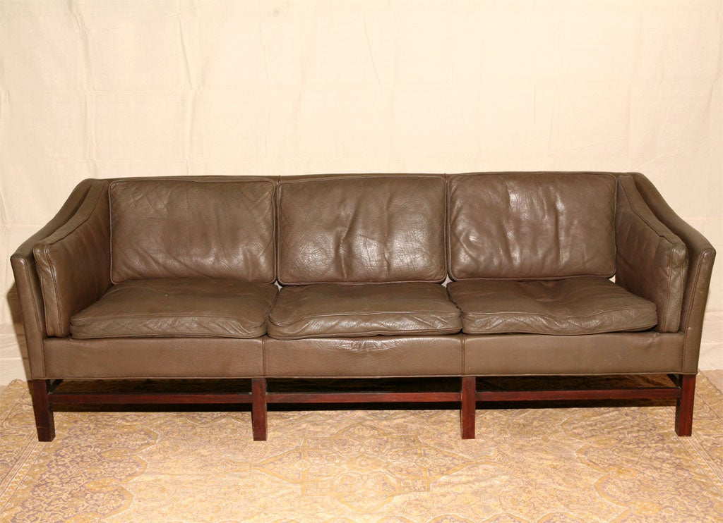 Blue Leather Chesterfield Sofa At 1stdibs
