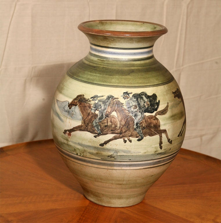 Large Pottery Vase By H F Gross For Knabstrup For Sale At