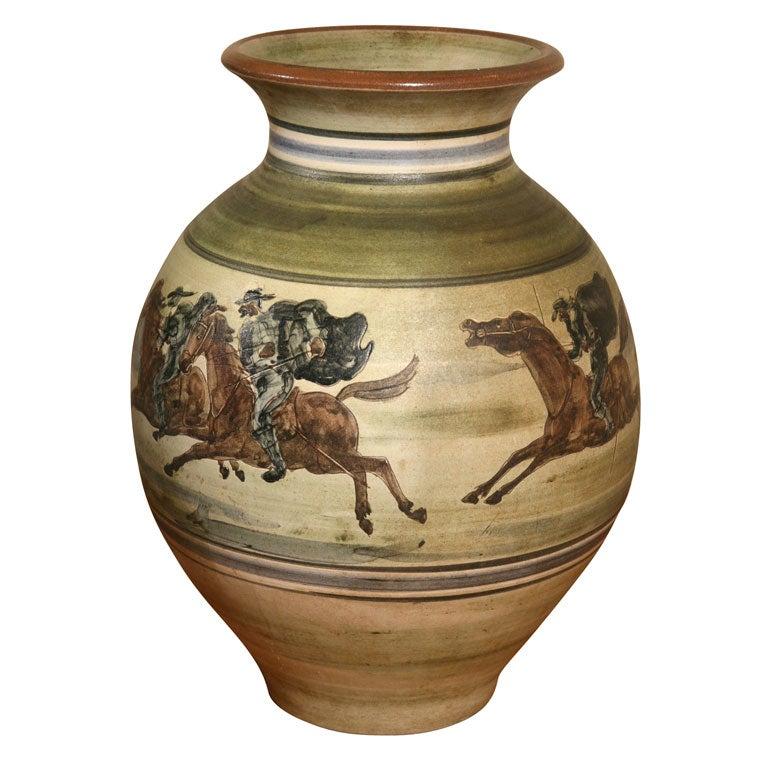 large pottery vase by h f gross for knabstrup at 1stdibs. Black Bedroom Furniture Sets. Home Design Ideas