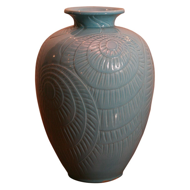 large danish modern ceramic vase by knabstrup for sale at. Black Bedroom Furniture Sets. Home Design Ideas