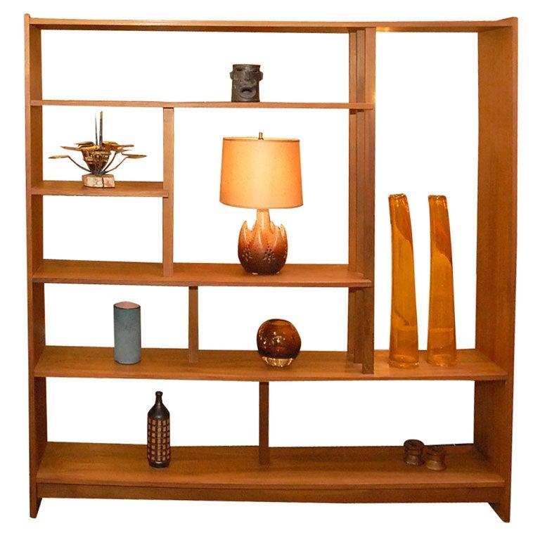 Solid Teak Danish Bookshelf Room Divider For Sale
