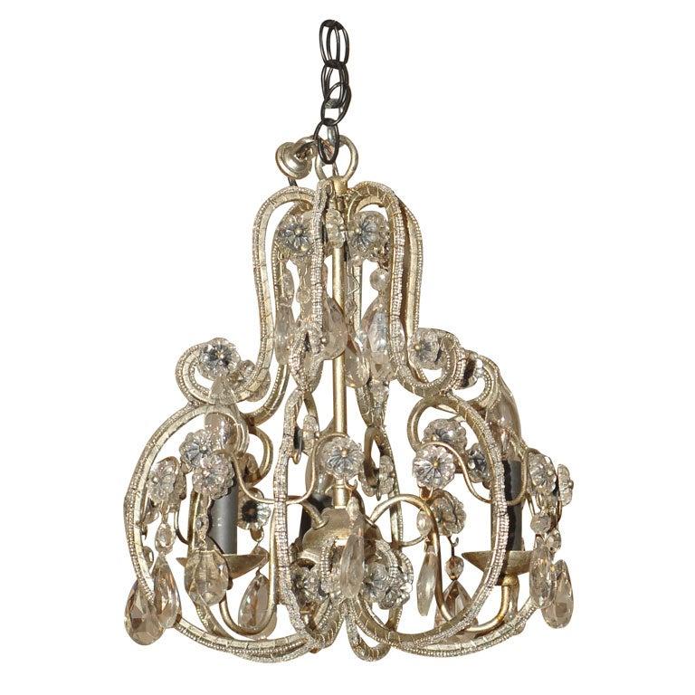 Petite Louis Xv Style Crystal Mounted Three Light