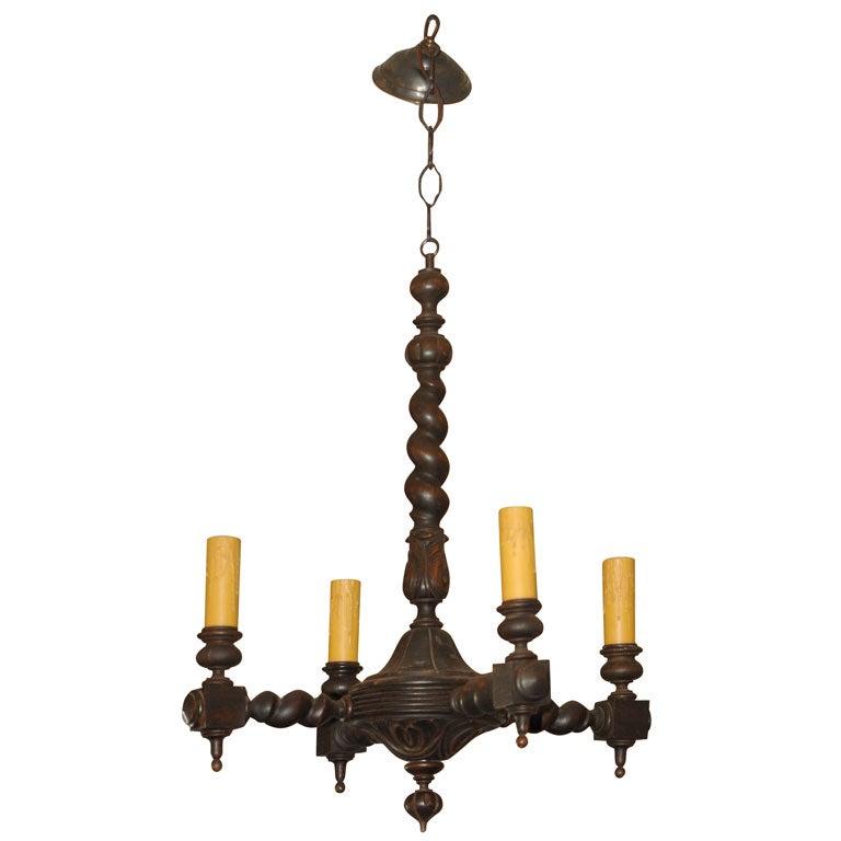 Renaissance Revival Walnut Four Lite Chandelier At 1stdibs