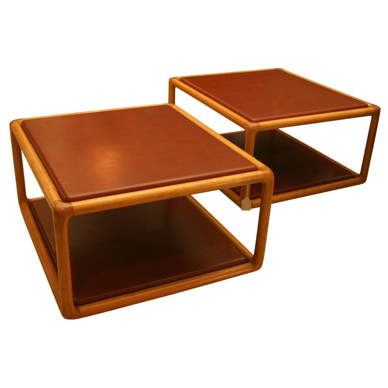Two Leather And Fruitwood Coffee Tables By Ward Bennett At 1stdibs