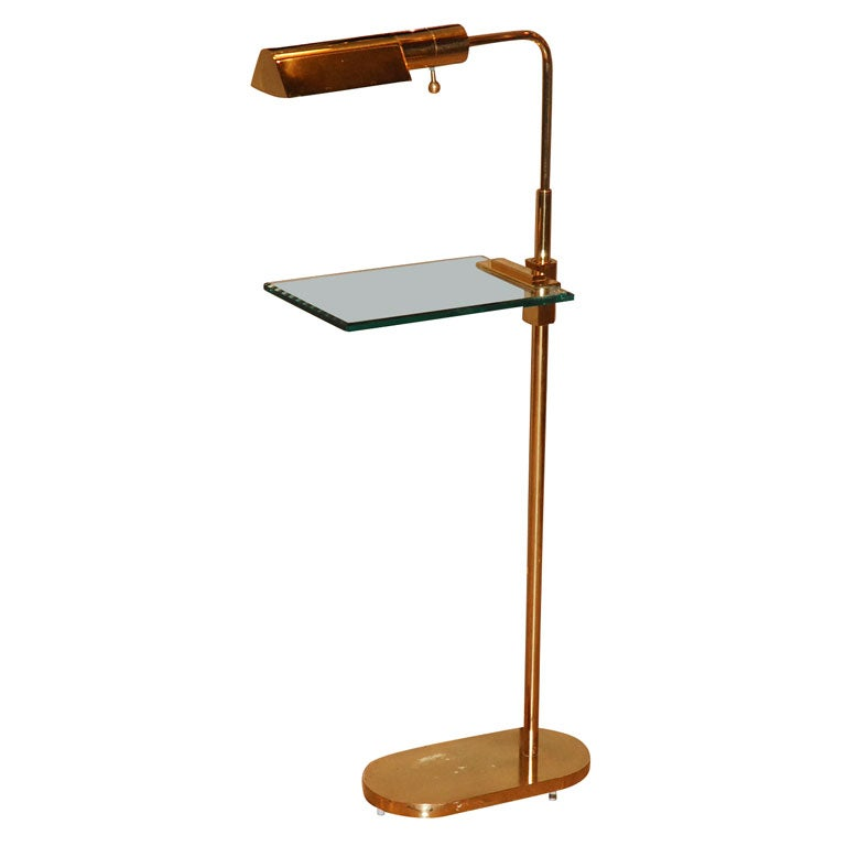 casella brass floor lamp with glass table top at 1stdibs. Black Bedroom Furniture Sets. Home Design Ideas