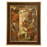 "Cubist Oil Painting ""Roof Tops"" by Aileen Worthley"