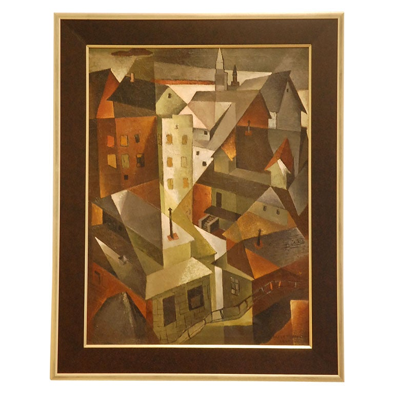 Cubist Oil Painting Quot Roof Tops Quot By Aileen Worthley At 1stdibs