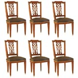 Set of Six Dining Chairs with Lattice Back Detail signed Jansen