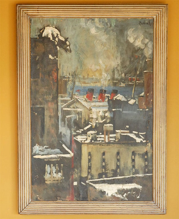 Unique oil on canvas painting depicting a polar bear atop a building overlooking a big city shipyard and harbor, circa 1940s-1950s. Signed Paddock.