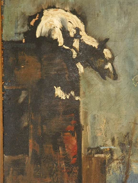 American Oil Painting of Bear Overlooking Shipyard For Sale