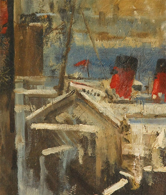 Oil Painting of Bear Overlooking Shipyard In Good Condition For Sale In Los Angeles, CA