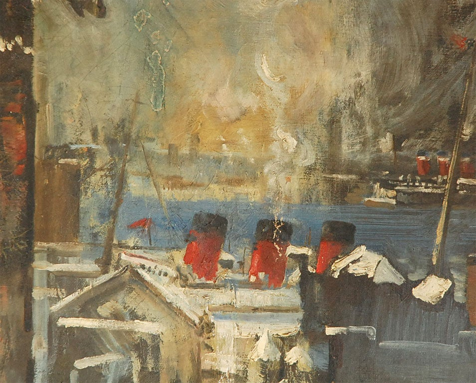 Oil Painting of Bear Overlooking Shipyard For Sale 1
