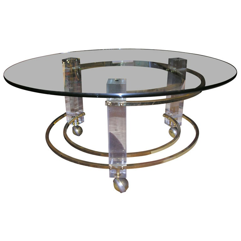 Brass And Lucite Coffee Table At 1stdibs