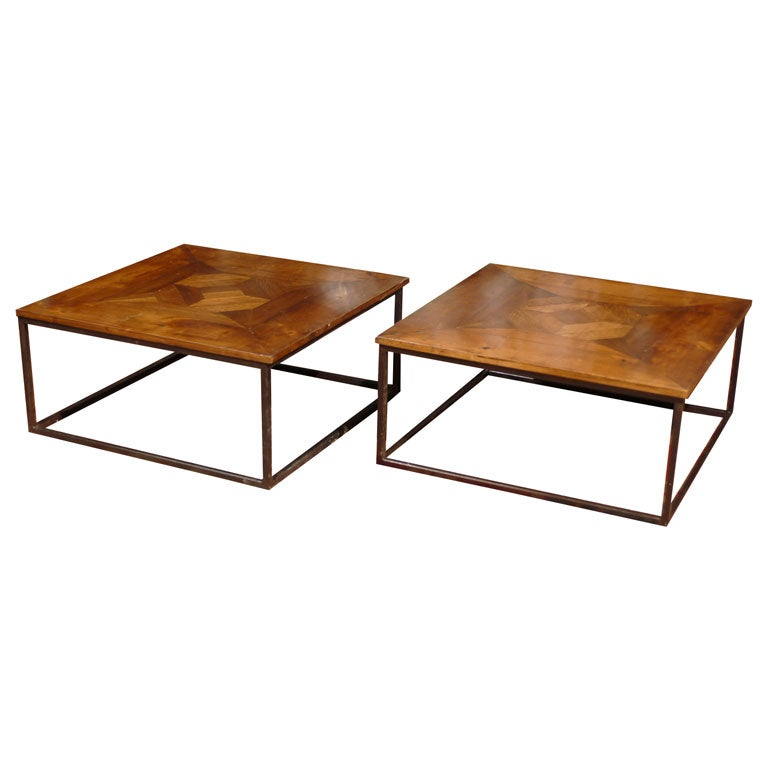 Contemporary Coffee Table Bases: Pair Of Contemporary Inlaid Coffee Tables With Iron Bases