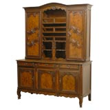 French 1820s Walnut Restoration Vaisselier from Bresse with Burl Wood Panels