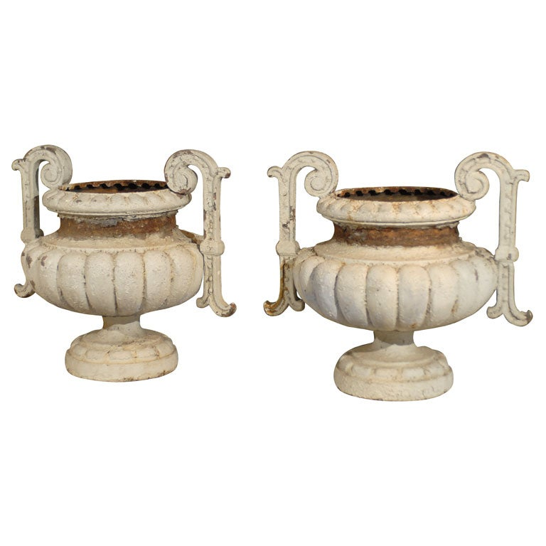 Pair of 19th Century French Painted Iron Jardinières