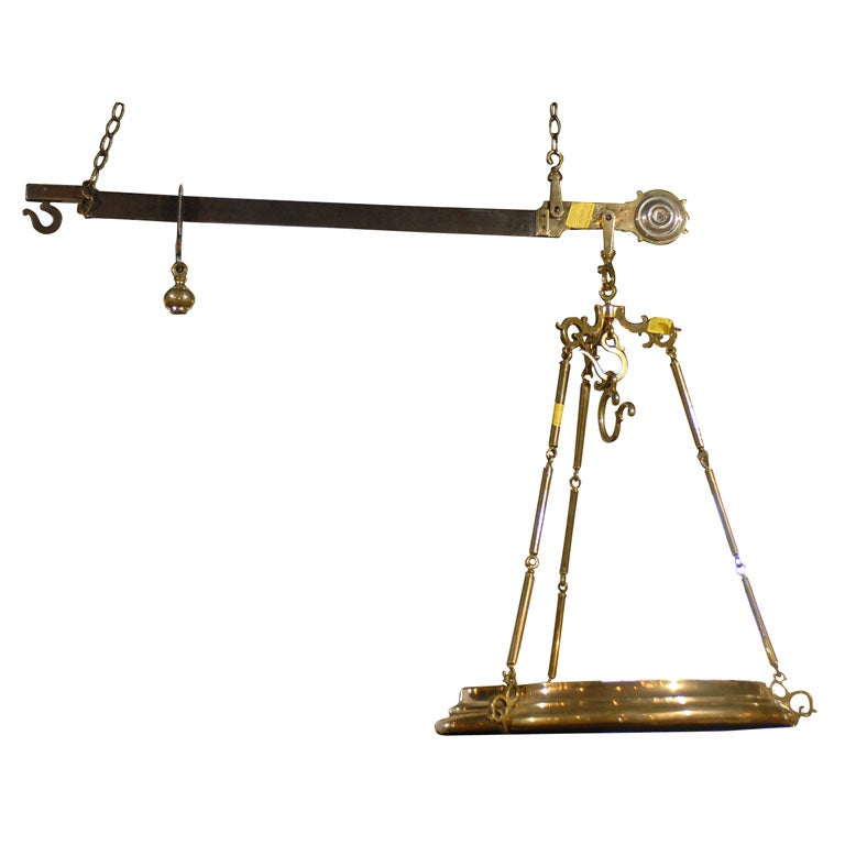 19th Century Italian Brass Scale for weighing cheese